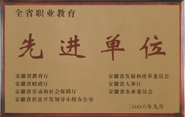 """2006年12月,安徽新东方被评为""""全省职业教育先进单位"""""""